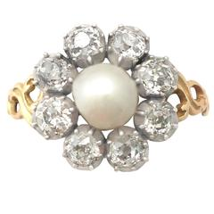 1820s Pearl and 1.62 Carat Diamond Yellow Gold Cocktail Ring