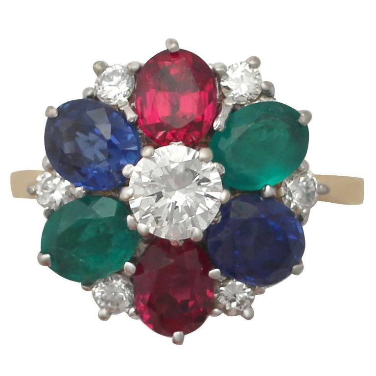 Garnet, Sapphire, Emerald, Diamond and 18k Yellow Gold Cluster Ring