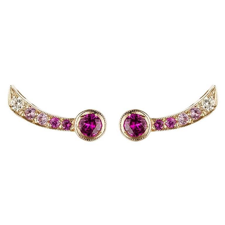 Sabine Getty Pink Sapphire Diamond Harlequin Earrings