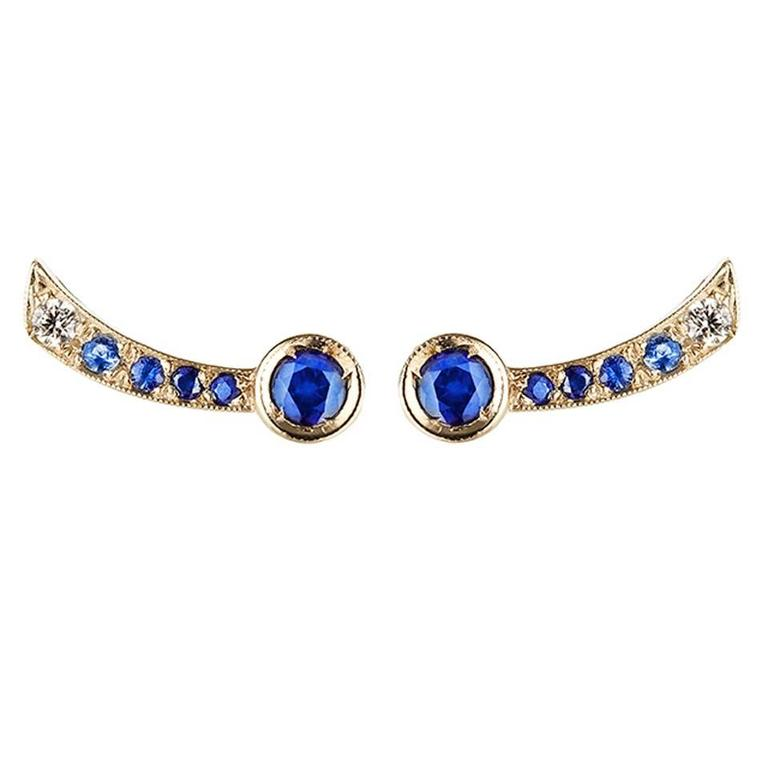Sabine Getty Blue Sapphire Diamond Harlequin Earrings