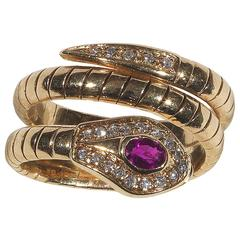 Ruby Diamond Gold Snake Ring