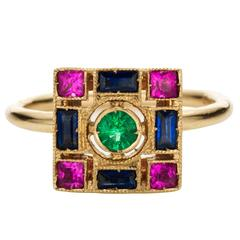 Sabine Getty Blue and Pink Sapphire Emerald Harlequin Ring