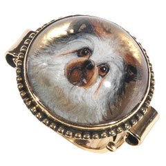 Victorian Essex Crystal Reverse Intaglio Gold Dog Ring