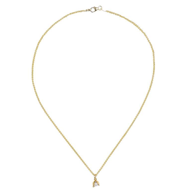 Yellow Gold Pave Set White Diamond Brilliant 8mm Akoya Pearl Necklace Pendant
