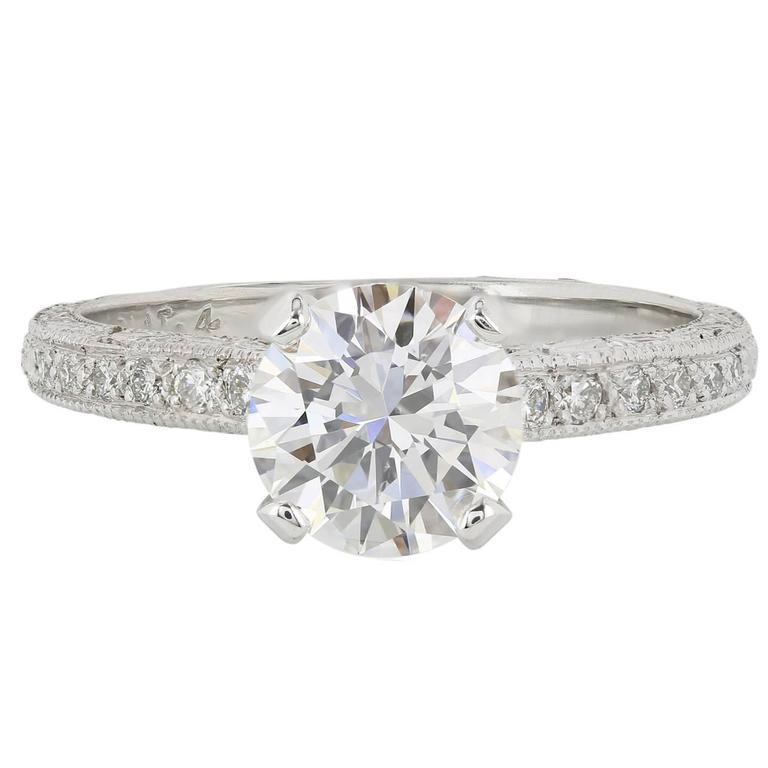 1.44 Carat F/VS2 GIA Cert Brilliant Cut Diamond Platinum Ring