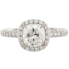 1.27 Carat G/SI1 GIA Cert Cushion Cut Diamond Gold Ring
