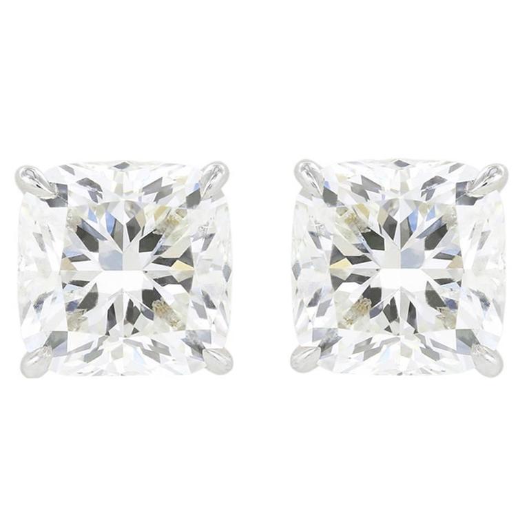 6.02 Carats Cushion Cut Diamonds Platinum Stud Earrings