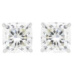 6.02 Carats Cushion Cut Diamonds Platinum Stud Earrings