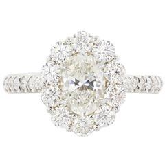 .90 Carat Oval Diamond Gold Halo Ring