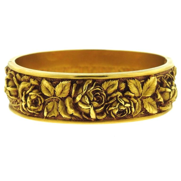 High Relief Gold Bangle Bracelet At 1stdibs