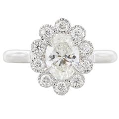 .92 Carat Oval Diamond Gold Halo Ring