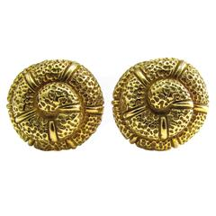 Elizabeth Gage Gold Snail Shell Ear Clips