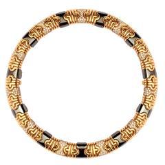 1980s Bulgari Hematite Pave Diamond Gold Parenthesis Necklace
