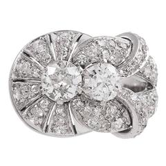 Retro Asymmetrical Diamond Platinum Ring