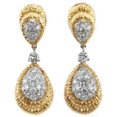 Diamond Gold Platinum Dangle Earrings