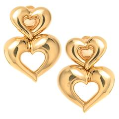 Van Cleef & Arpels Gold Double Heart Earrings