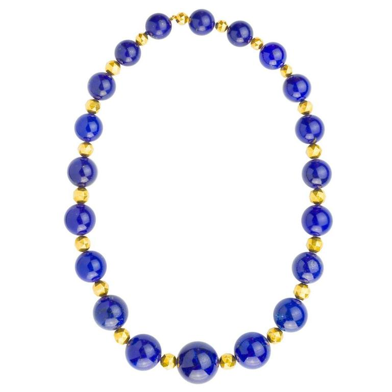 Carvin French Lapis Bead Necklace