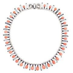 Coral Diamond Aquamarine Sapphire Fringe Collar Necklace