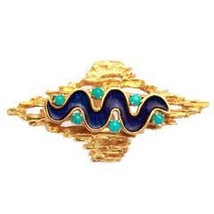 1960s Italian Enamel Gold Ring