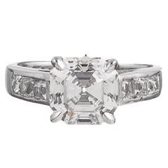 3.16 Carat Asscher Cut Diamond Platinum Ring