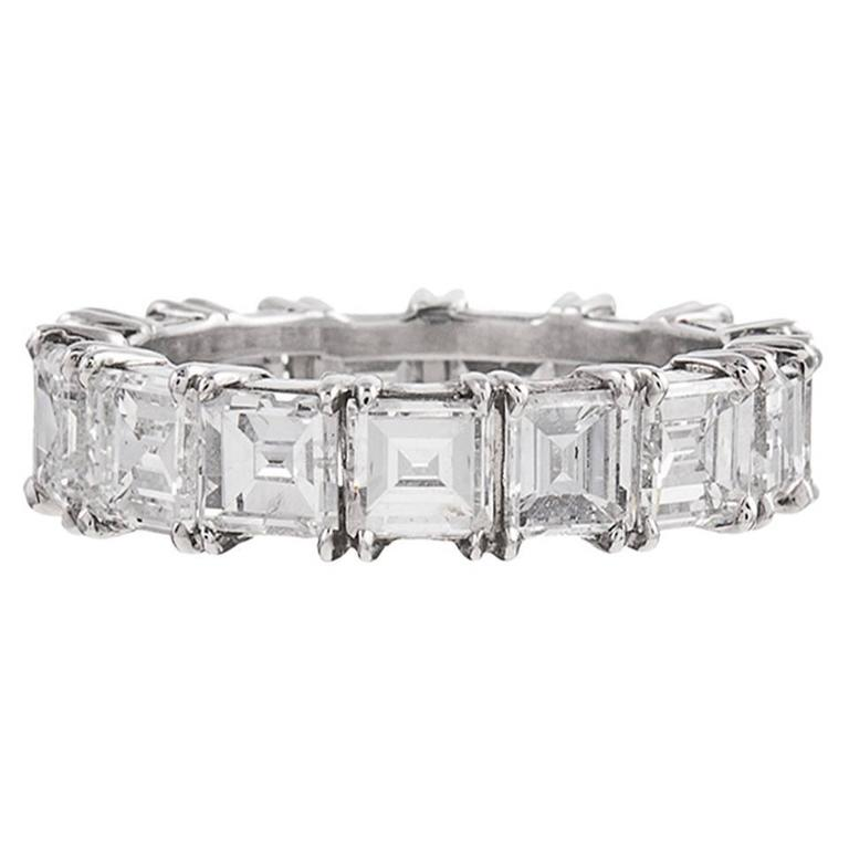 7.50 Carats Asscher Cut Diamonds Platinum Eternity Band Ring
