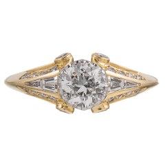 .61 Carat Center Old European Cut Diamond Gold Solitaire Ring
