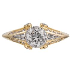 .61 Carat Center Old European Cut Diamond Gold Solitaire Ring