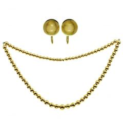 1980s Tiffany & Co. Gold Bead Necklace and Earrings Suite