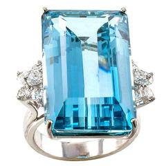 Midcentury Aquamarine Diamond Gold Ring