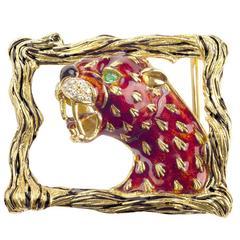 1960s Frascarolo Italy   Enamel Diamond Gold Panther Buckle