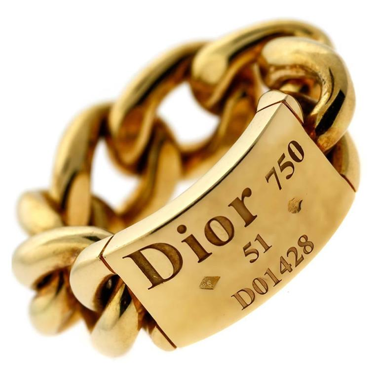 Dior Gold Chain Gourmette Link Ring For Sale at 1stdibs