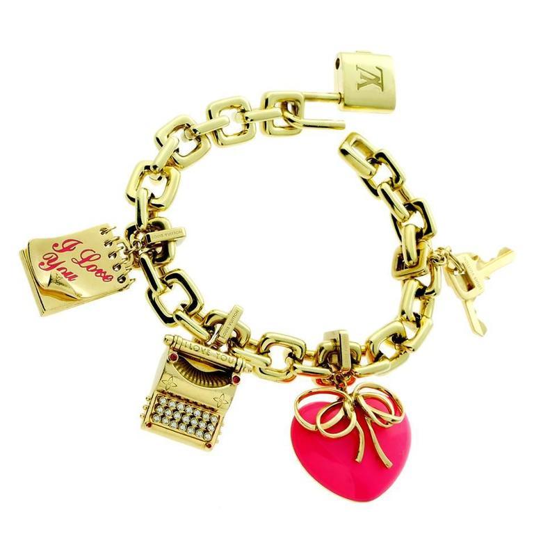 Louis Vuitton Diamond Gold Charm Padlock Bracelet