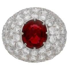 Vintage Spinel & Diamond Ring, Circa 1960
