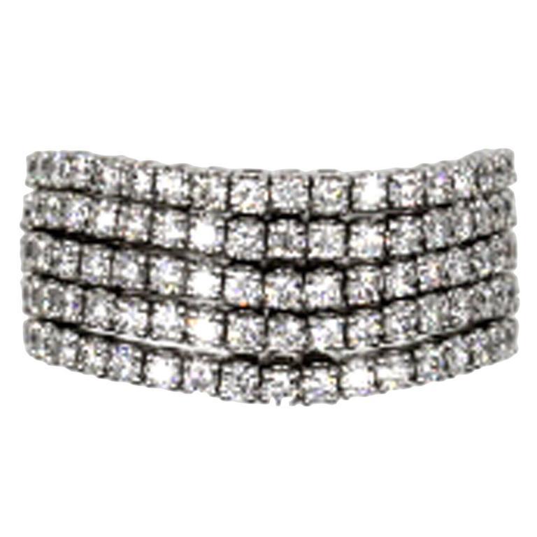 Diamond 5 Row Gold Band Ring at 1stdibs