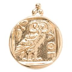Owl of Athena Gold Pendant