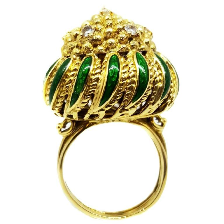 Enamel Gold Dome Ring