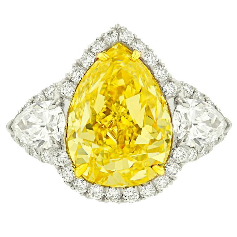 Magnificent 5.33 Carat GIA Certified Fancy Yellow Diamond Platinum Ring