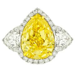 Magnificent 5.33 Carat GIA Certified Fancy Yellow Diamond Platinum Ring