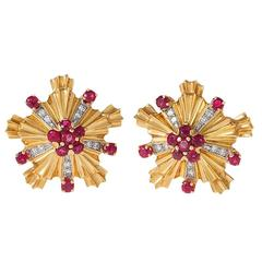Tiffany & Co. Retro Diamond Ruby Gold Earclips