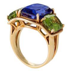 Verdura Tanzanite Peridot Gold 'Three Stone' Ring