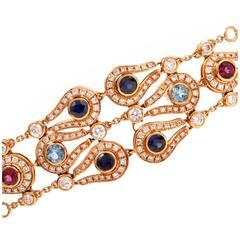 Dimodolo Multi Gem Diamond Link Toggle Bracelet