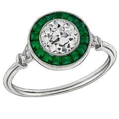 Amazing 0.82 Carat Old European Cut Diamond Emerald Platinum Halo Ring