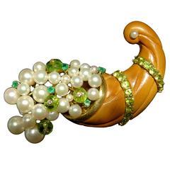 Seaman Schepps Rare Movable Pearl Peridot Emerald Diamond Cornucopia Brooch Pin