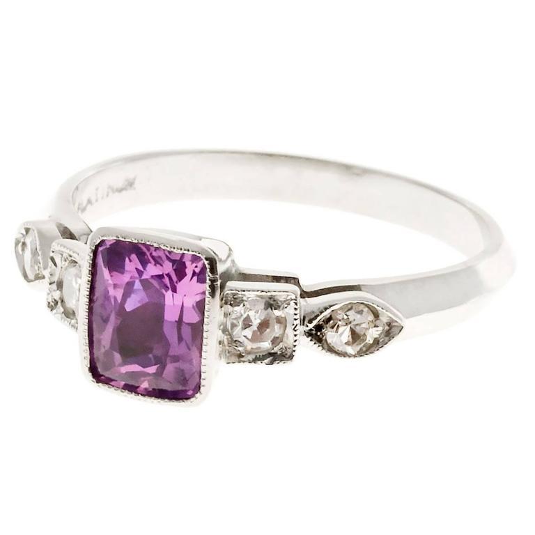Natural Pink Sapphire Diamond Art Deco Platinum Engagement Ring