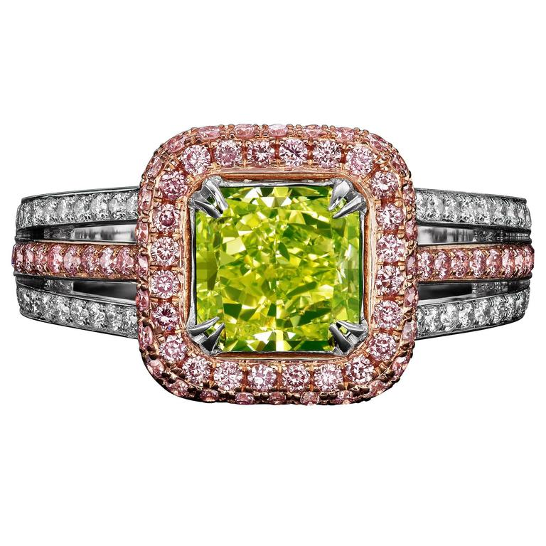 1.77 Carat Fancy Intense Yellow Green Diamond Two-Color Gold Ring