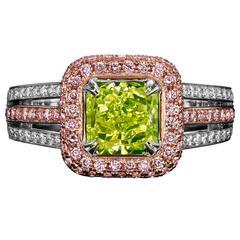 David Rosenberg 1.77 Carat Radiant Fancy Intense Yellow Green GIA Diamond Ring