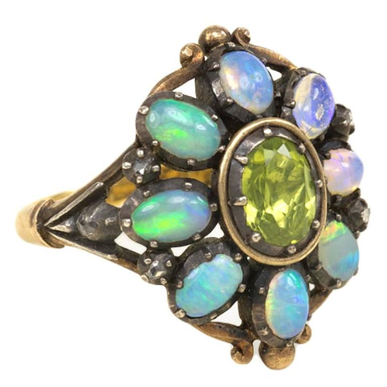 1940s Portuguese Opal Peridot Silver Gold Cluster Ring 1