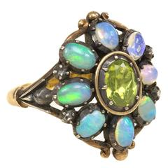 1940s Portuguese Opal Peridot Silver Gold Cluster Ring