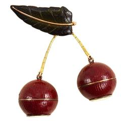 1930s French Gold and Leather Lapel Watch Brooch in the Form of Cherries