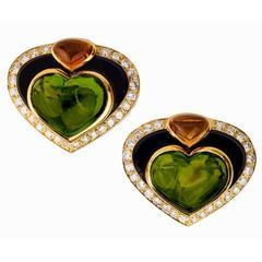 Marina B Coeur Gran Peridot Onyx Citrine Diamond Gold Ear Clips